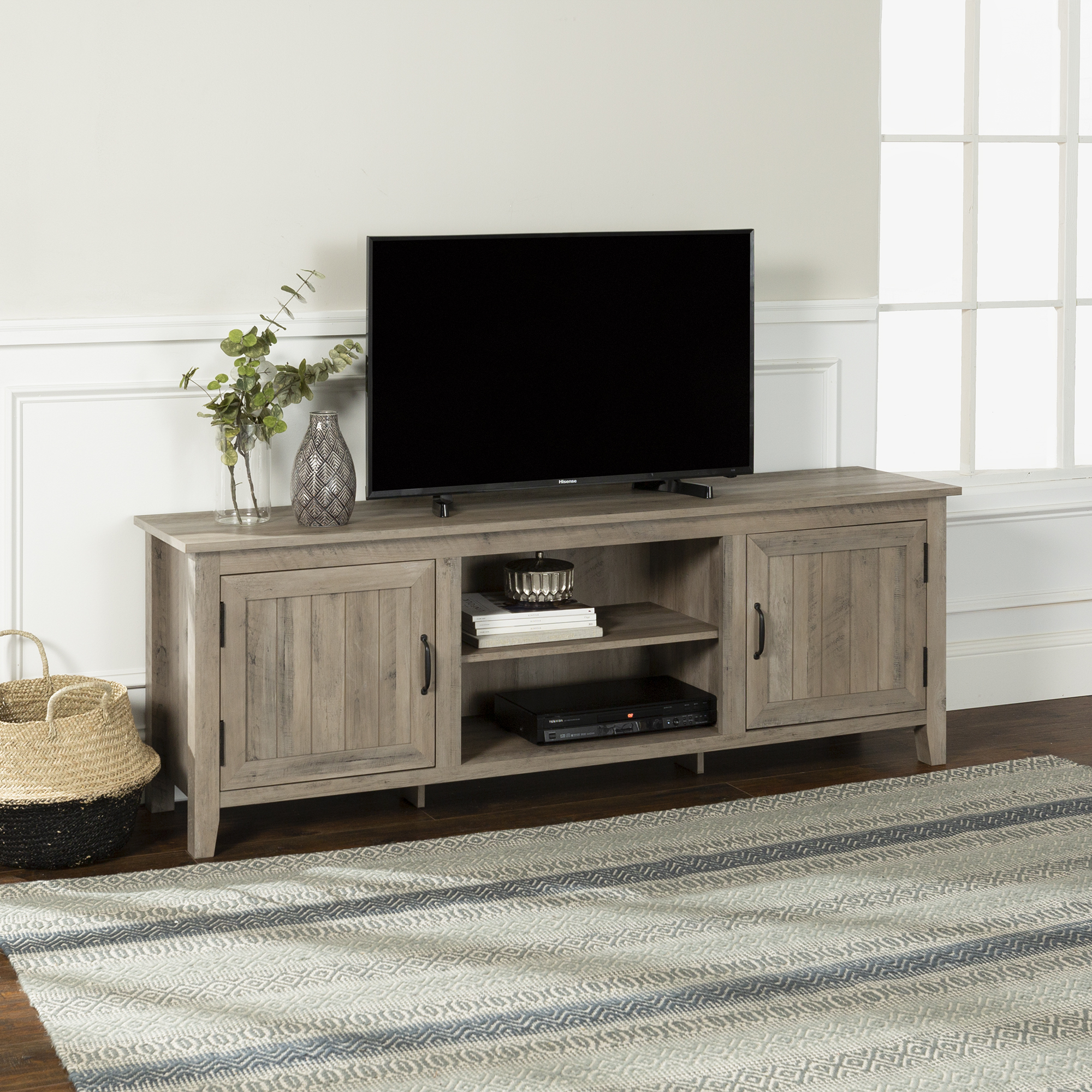 Manor Park Modern Farmhouse Tv Stand For Tvs Up To 80 White Oak Walmart Com Walmart Com