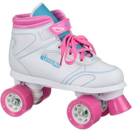 Chicago Girls' Quad Roller Skates White/Pink/Teal Sidewalk Skates, Size 3 (Chicago Skates Kids)