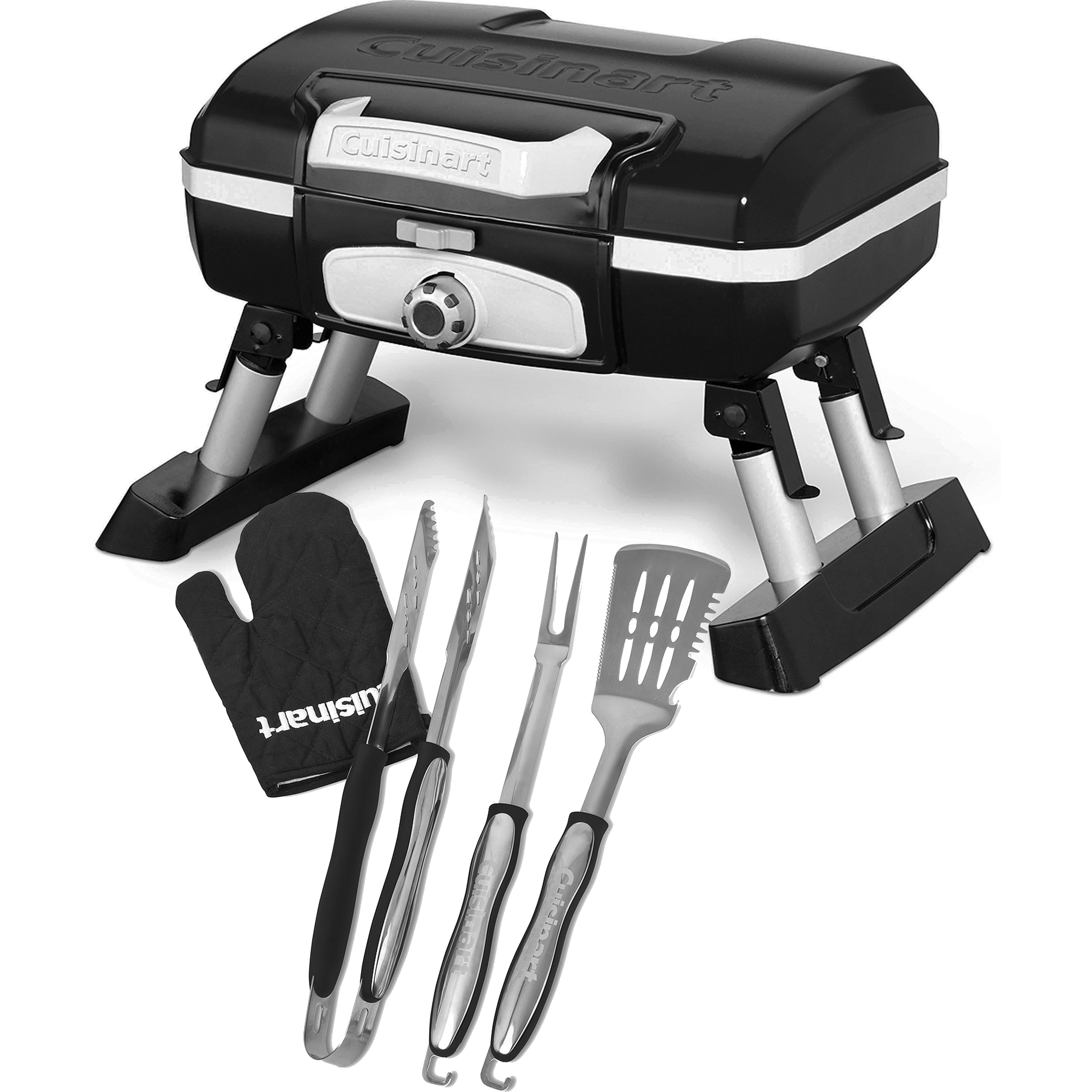 Cuisinart  CGG-180TB Petit Gourmet Tabletop Gas Grill with 3 Piece Tool Set and BONUS Grill Glove