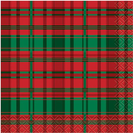Poinsettia Plaid Holiday Beverage Napkins, 16ct