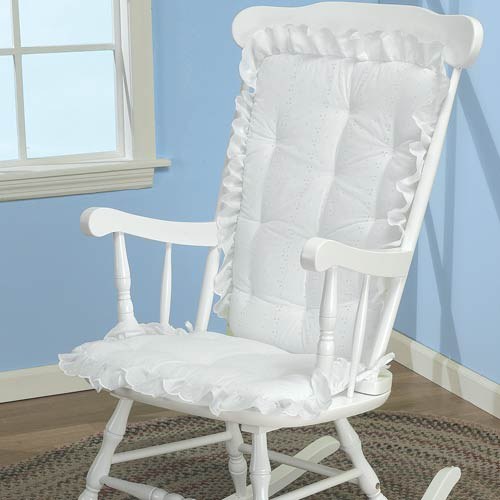 White Eyelet Rocking Chair Cushion by Baby Doll