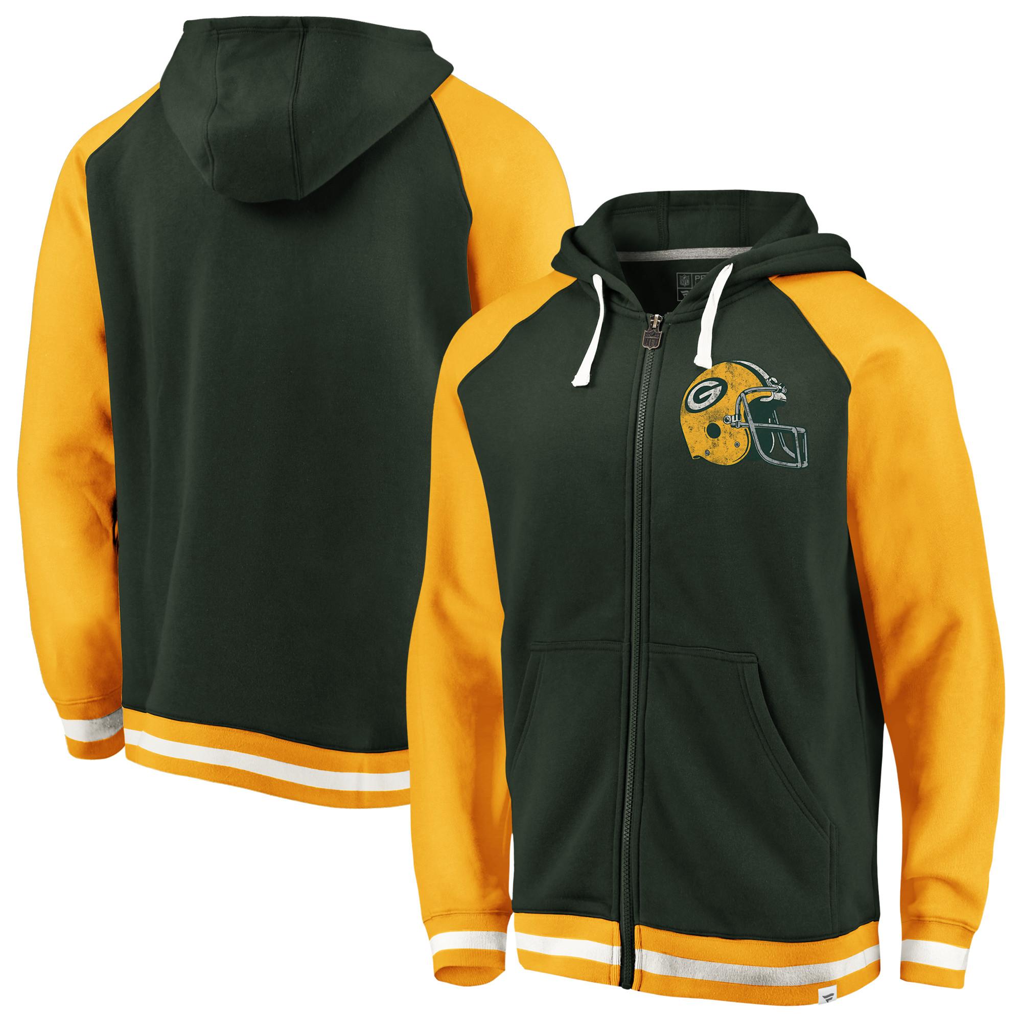 Green Bay Packers NFL Pro Line by Fanatics Branded True Classics Full-Zip Hoodie - Green/Gold