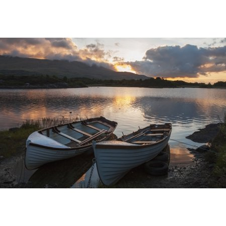 Boats at lakeshore of Lough Corrib near Cong Connemara County Galway Ireland Stretched Canvas - Carl Bruemmer  Design Pics (19 x 12)