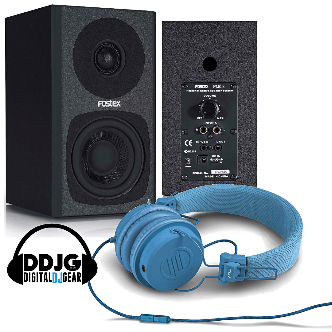 Fostex PM03B Black Studio Monitors With pair of Reloop RHP-6 Headphones Blue