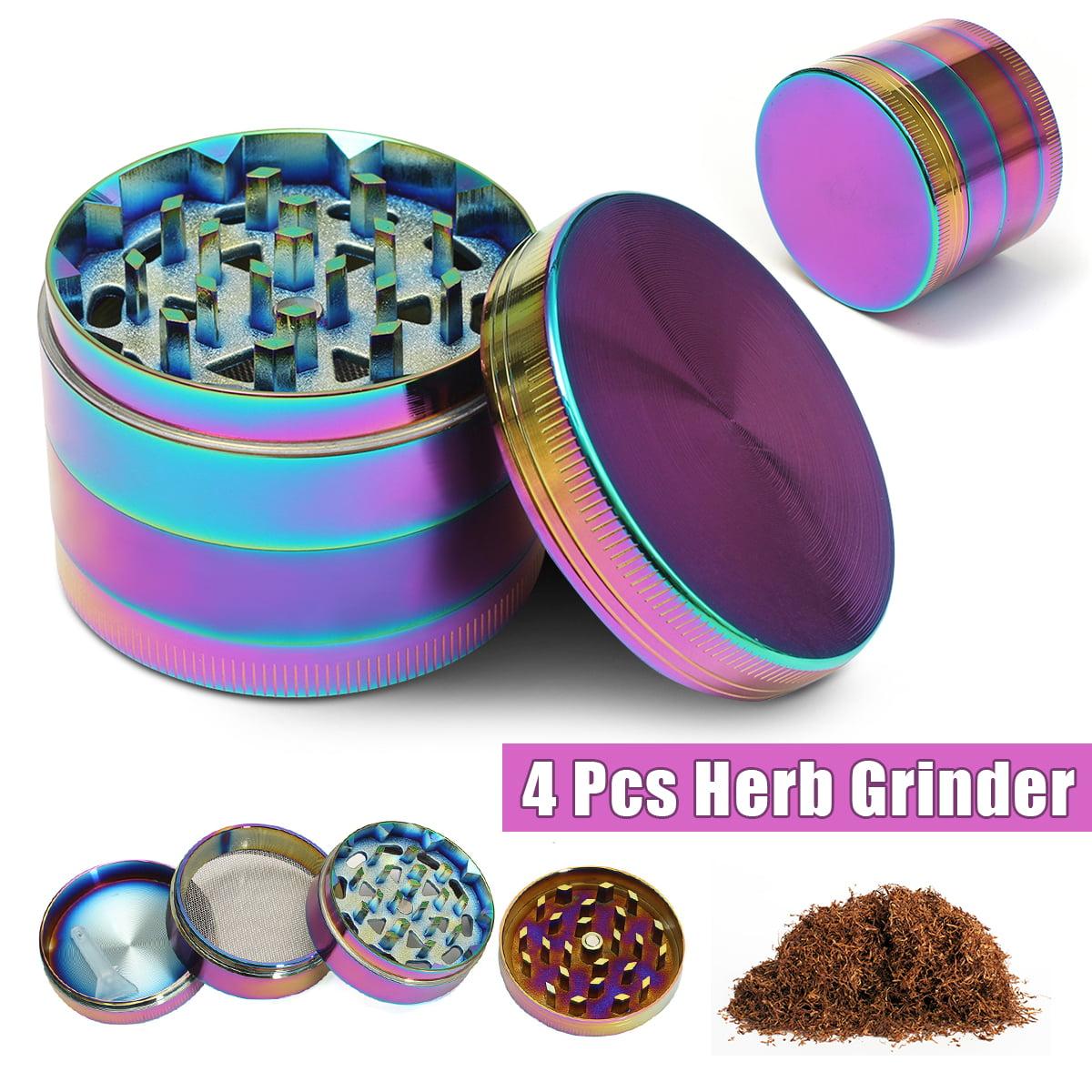 "2"" 4 Layer Metal Zinc alloy Tobacco Herb Grinder Smoke Crusher with Pollen Sifter & Bonus Scraper Rainbow... by"