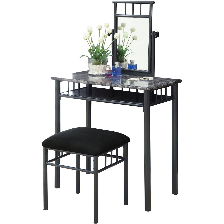 Monarch Vanity Set 2Pcs Set   Black   Silver Metal   Walmart com. White Metal Vanity Set. Home Design Ideas