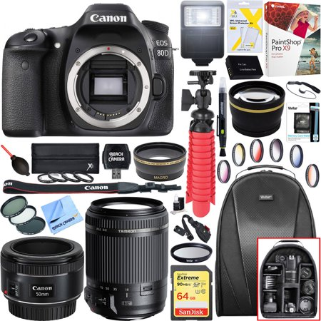 Canon EOS 80D 24.2 MP CMOS Digital SLR Camera (Body) with Tamron 18-200mm Di II VC All-In-One Zoom Lens + Canon EF 50mm f/1.8 STM Prime Lens Plus 64GB Accessory