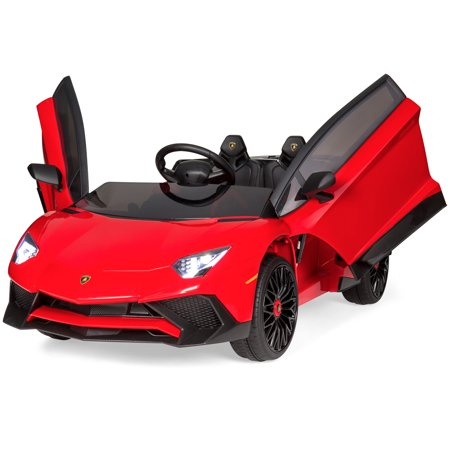 Best Choice Products Kids 12V Ride On Battery Powered Vehicle Lamborghini Aventador SV Sports Car Toy w/ Parent Control, AUX Cable, 2 Speed Options, LED Lights, Music, Horn - Red](Car Toy)