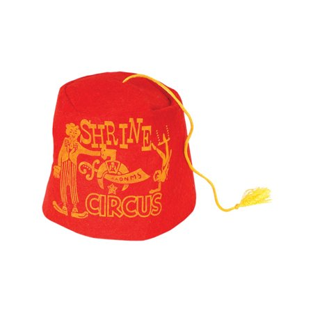 Classic Red Soft Felt Circus Shriners Aladdin Fez Hat With Yellow Tassel