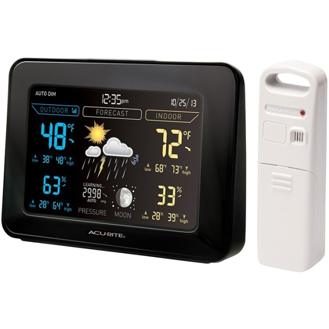 AcuRite Color Digital Weather Station generates a weather forecast while tracking temperature, humidity, time and date.