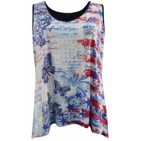BNY Corner Women Plus Size Sleeveless Special Star Print Summer Tank Top Butterfly 1X (Butterfly Print Tank Top)