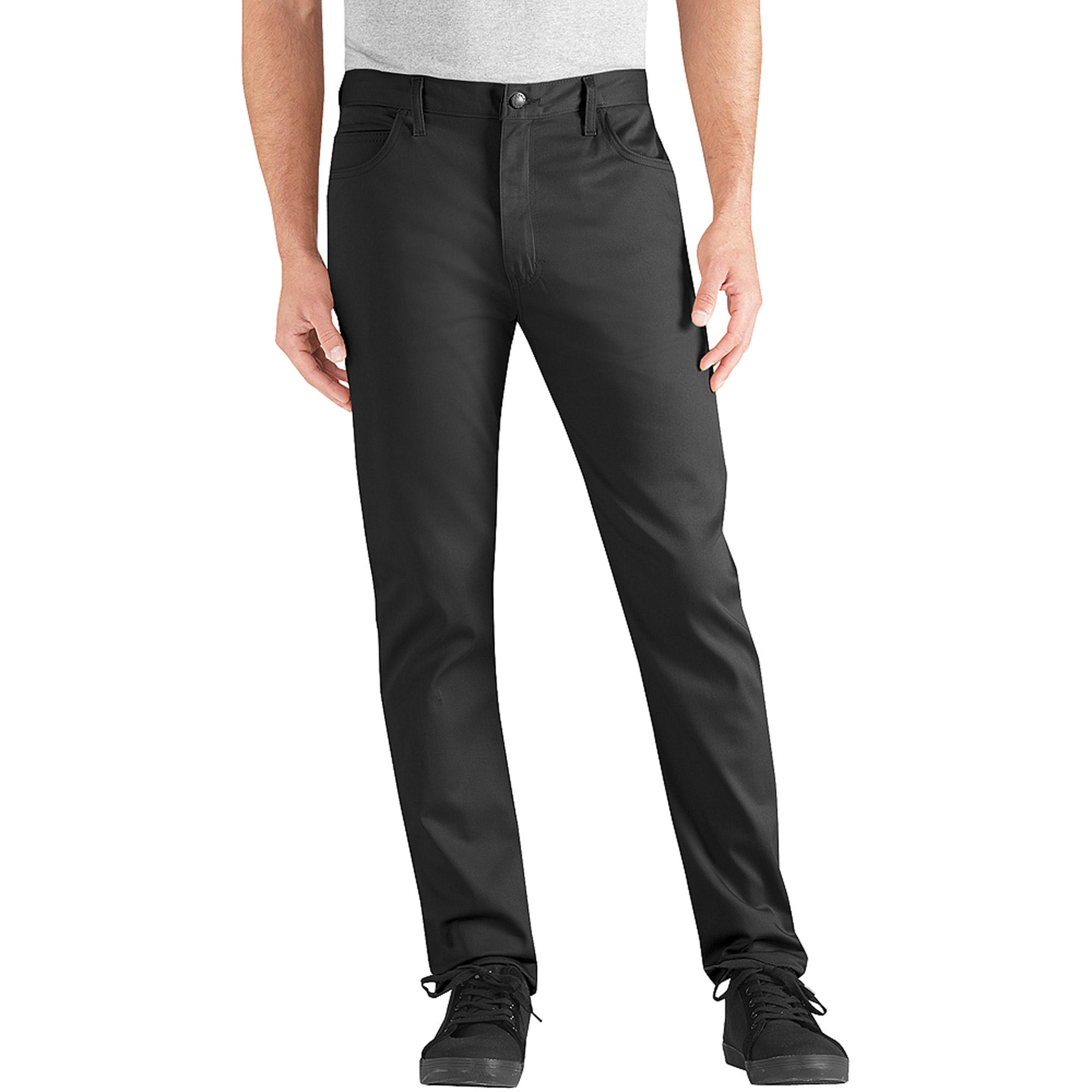 Genuine Dickies Men's Slim Flat Fit 5 Pocket Twill Pant