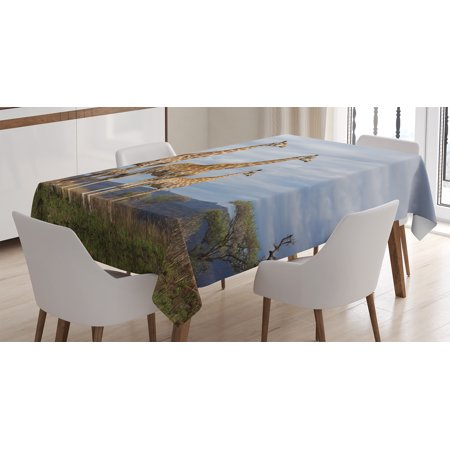 (Wildlife Decor Tablecloth, African Giraffe Family Looking at Skyline in Savannah Grassland with Shrubs, Rectangular Table Cover for Dining Room Kitchen, 52 X 70 Inches, Tan Blue, by Ambesonne)