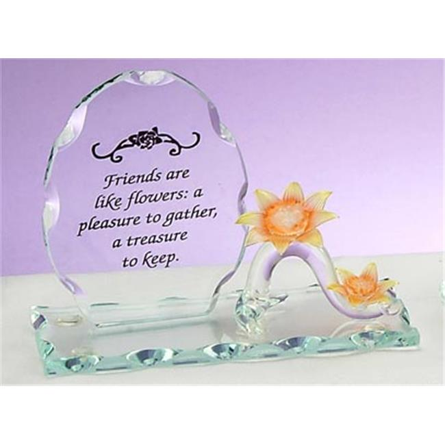 Unison Gifts ENG-8272 4 H In. Friends Themed Sunflower Design Glass Figurine, Clear