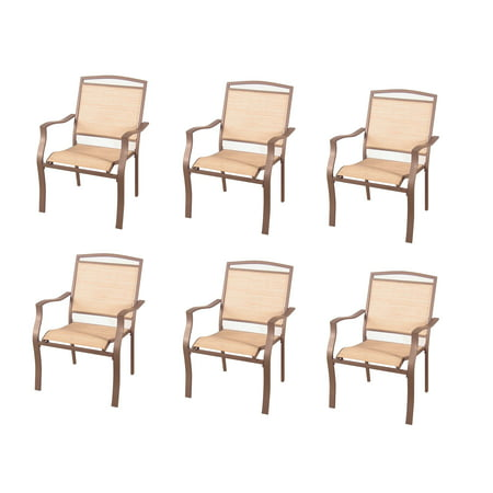 Satin Sand Dune Dinner - Mainstays Sand Dune Outdoor Patio Dining Chairs, Set of 6