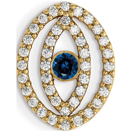 14k Yellow Gold y Medium Diamond and Sapphire Halo Evil Eye (15x12mm) Pendant / Charm - image 2 of 2