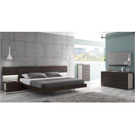 (J&M Maia Modern Wenge Veneer & Light Grey Lacquer King Size Platform Bed 5Pcs)