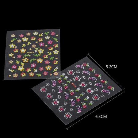 Garosa Nail Art Design Sticker, 50 Feuilles multicolore élégant 3D Nail Art Sticker Flower Design Adhésif Decal Decoration, Nail Art Décorations Sticker - image 2 de 7