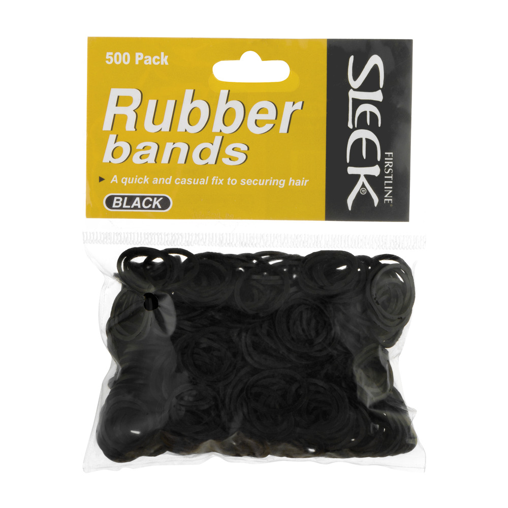Firstline Sleek Rubber Band Black - 500 PK, 500.0 PACK