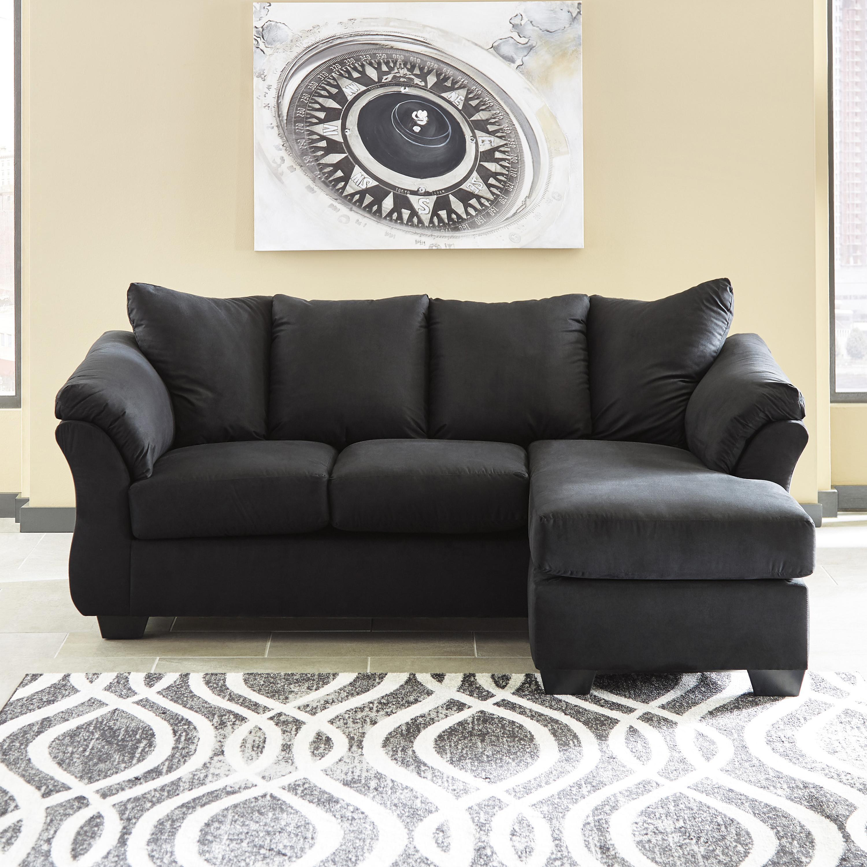 Flash Furniture Signature Design by Ashley Darcy Sofa Chaise in Mocha Microfiber
