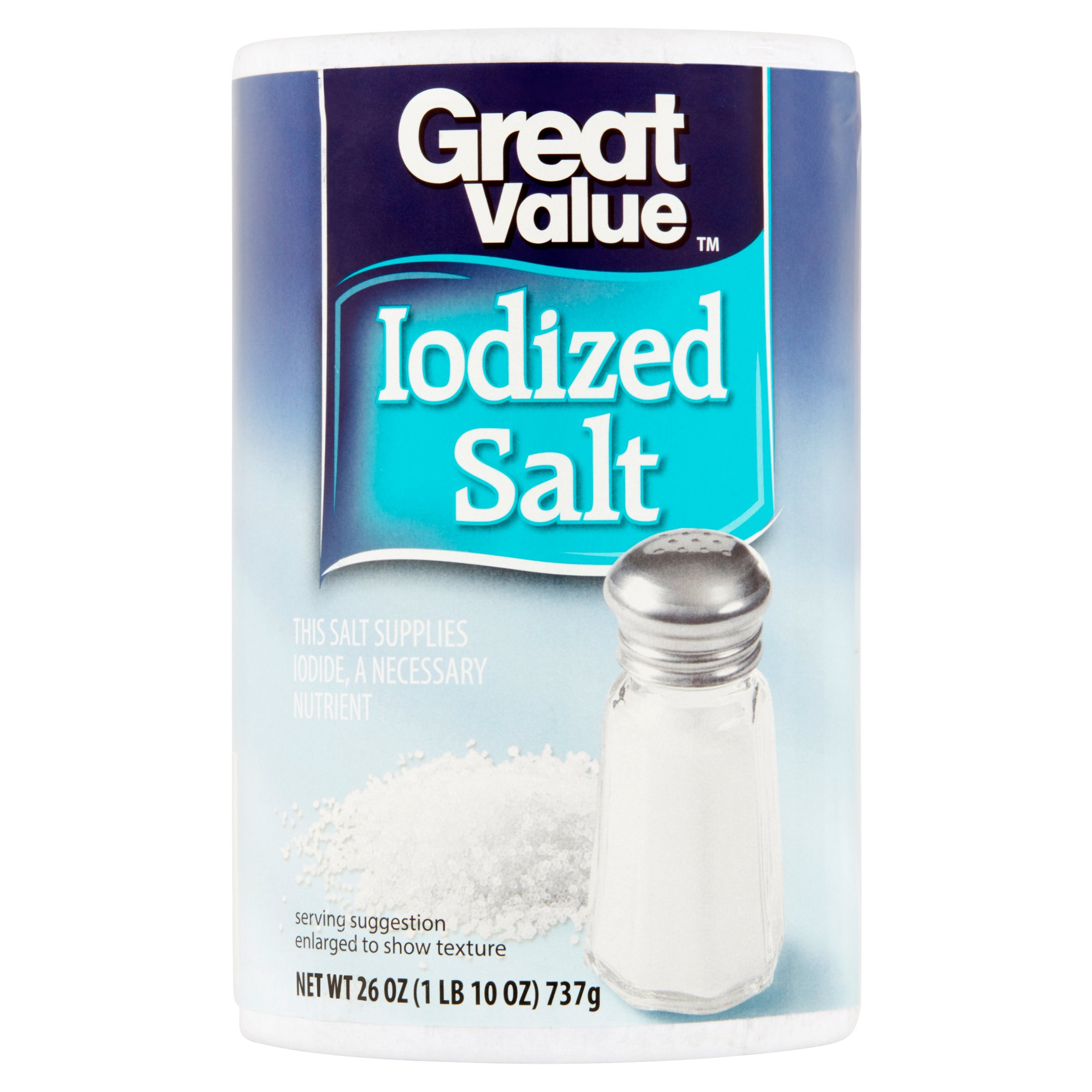 (4 Pack) Great Value Iodized Salt, 26 oz