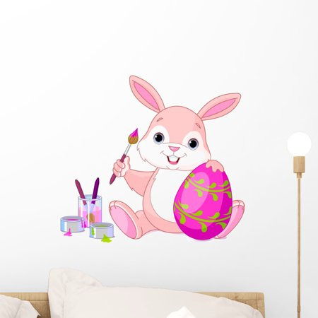 Bunny Painting Easter Egg Wall Decal by Wallmonkeys Peel and Stick Graphic (18 in W x 16 in H)
