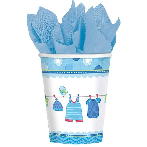 Baby Shower Boy Shower with Love Cups, 9 oz, Pack of 8