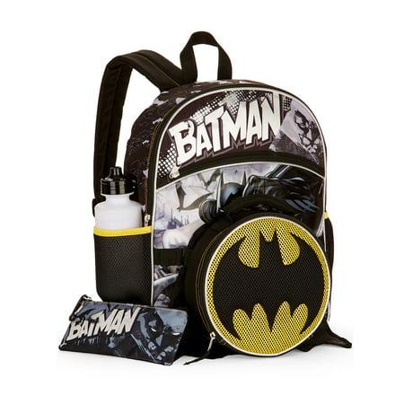 Batman - Batman Backpack Set Lunch Bag 5pc Kids School Bag Pencil Case  Water Bottle - Walmart.com