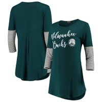 Milwaukee Bucks Women's Striking in Stripes 3/4 Sleeve Tunic T-Shirt - Hunter Green