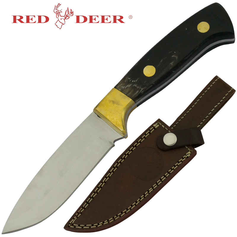"8"" Red Deer Hunting Fixed Blade Knife with Buffalo Horn Handle"