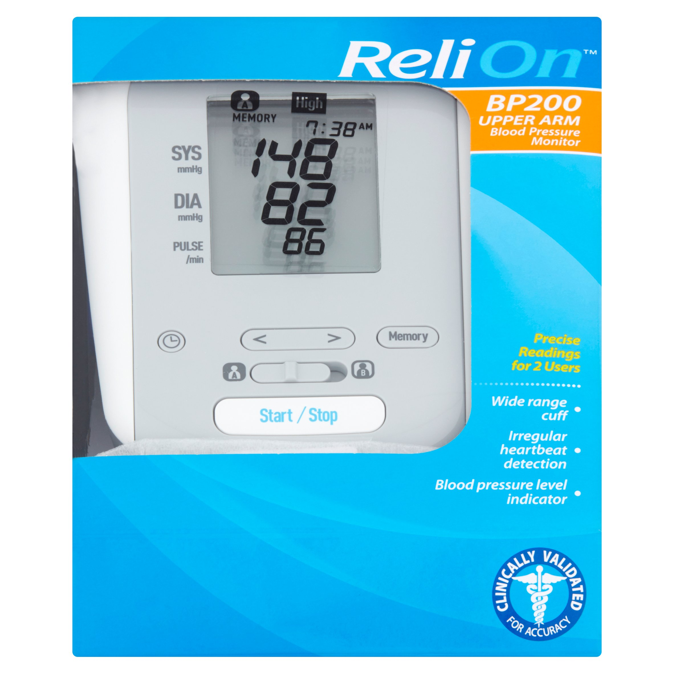 ReliOn bp200 upper arm blood pressure monitor