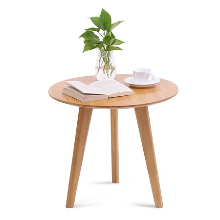Tbest Bamboo Round End Table Sofa Side Table, Wooden Coffee Tea Table, Round End Table, Round Tea Table Bamboo Style Furniture