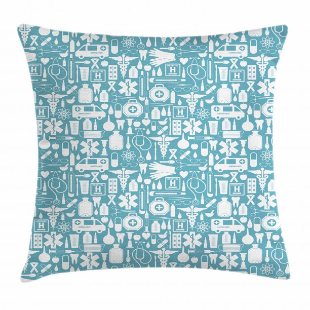 Apothecary Throw Pillow Cushion Cover Medication Hospital Health Care Ambulance Emergency Surgeon Doctor Illustration Decorative Square Accent Pillow Case 20 X 20 Inches Blue White By Ambesonne Walmart Com Walmart Com