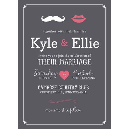 Black And White Wedding Invitations (Lips and Mustache Standard Wedding)