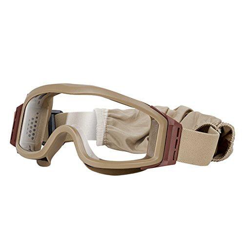 Valken 69103 V Tac Tango Single Goggles Tan Frame & Strap Clear Yellow And Smoke Lens
