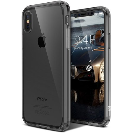 iPhone X Case, ELV iPhone X Clear Case [Scratch Resistant] Transparent Clear Slim Full Body Shockproof Protective Case Cover for Apple iPhone X - SMOKE