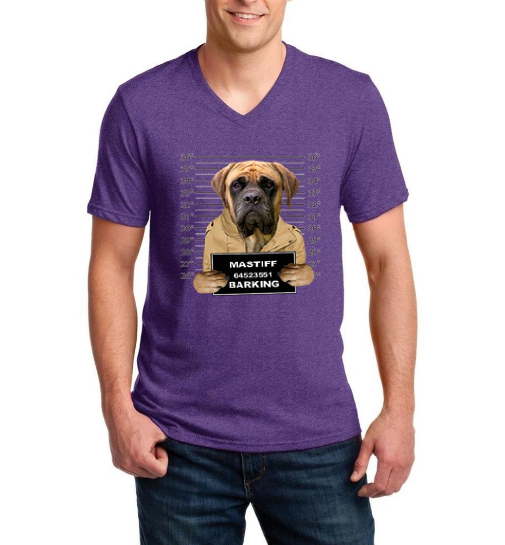 Mastiff Mugshot Birthday Christmas Humor Gift Match W Dog Food Dog Treats Toys Men V-Neck Shirts Ringspun