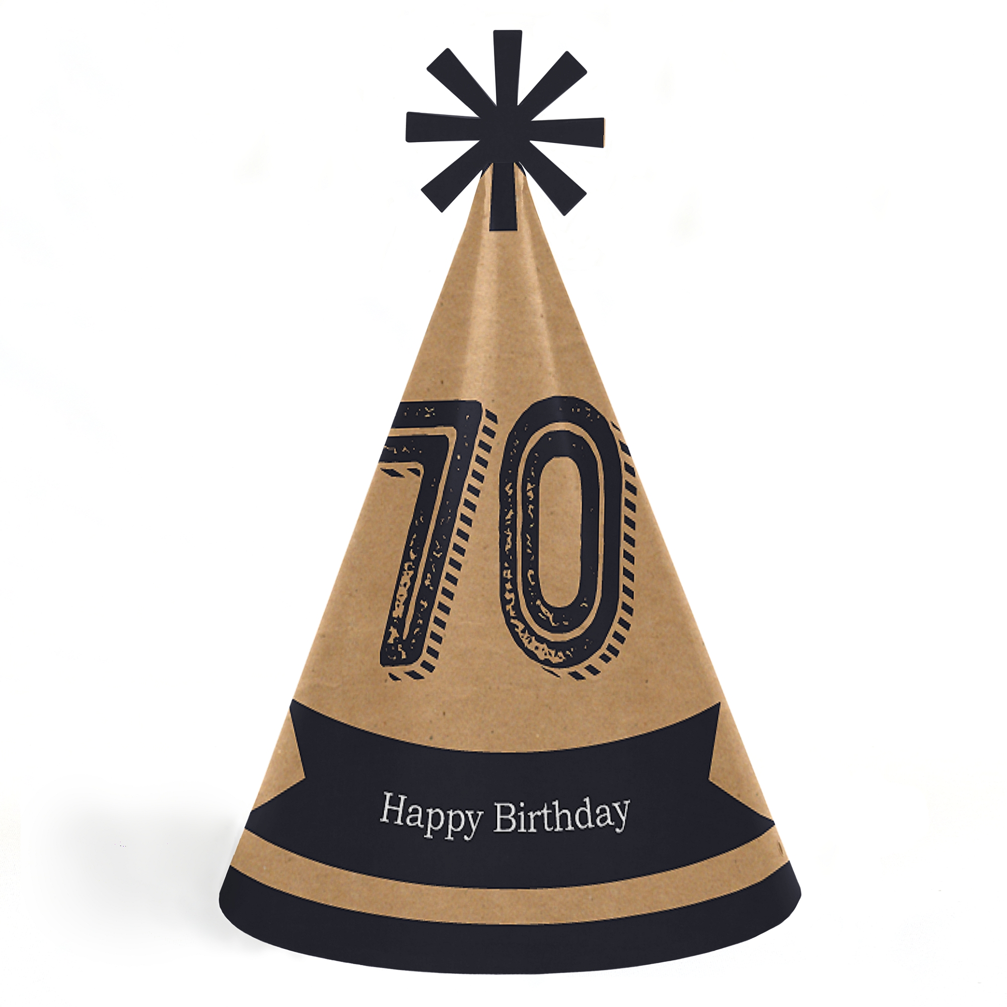 70th Milestone Birthday - Cone Happy Birthday Party Hats for Kids and Adults - Set of 8 (Standard Size)