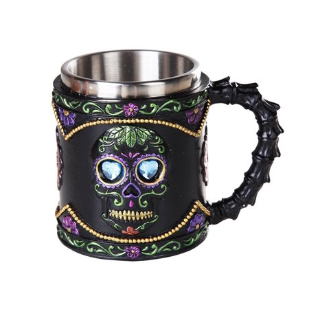 Day of the Dead Celebration Black Sugar Skull Floral Design Collectible Mug Tankard 11oz