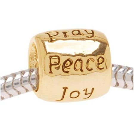 22K Gold Plated Message Bead Love Faith Pray Peace Joy Hope - European Style Large Hole (Hope Message Bead)