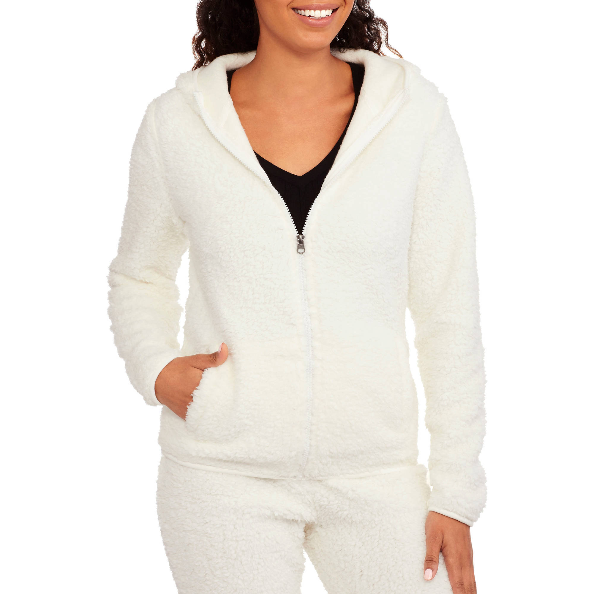 No Boundaries Juniors' Fuzzy Fleece Jacket - Walmart.com