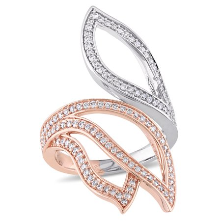 - Miabella 5/8 Carat T.W. Diamond 14k 2-Tone White and Rose Gold Abstract Leaf Ring