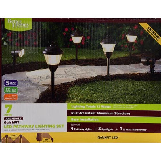 Better Homes Gardens Archdale 6 Piece Outdoor Quickfit Led Pathway Lighting Set