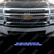 Compatible with 2014-2015 Chevy Silverado 1500 Stainless Black Rivet Stud Mesh Grille CL5177H