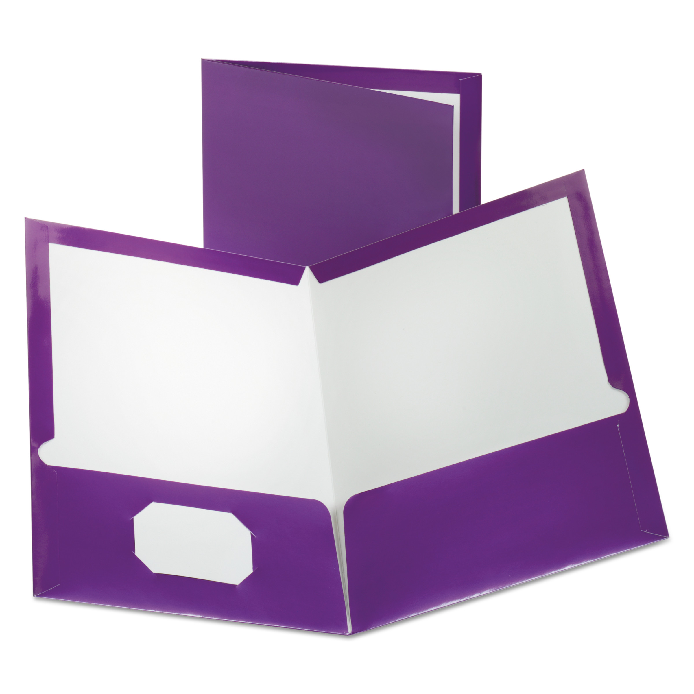 oxford two pocket laminated folder 100 sheet capacity metallic purple