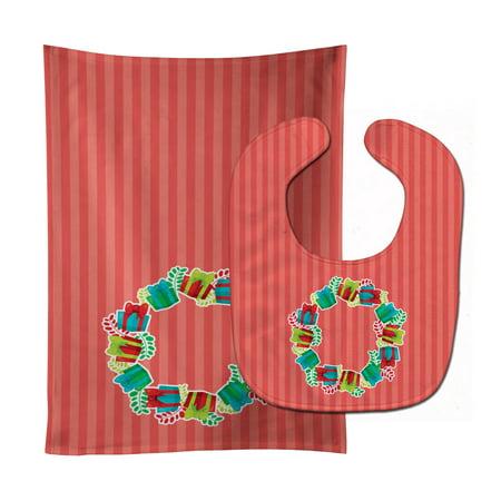 Christmas Wreath Presents Baby Bib & Burp Cloth BB6976STBU
