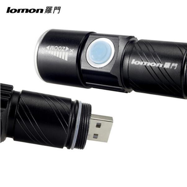 LOMON LED Torch Lamp Powerful Integrated Mini USB Charging Flashlight