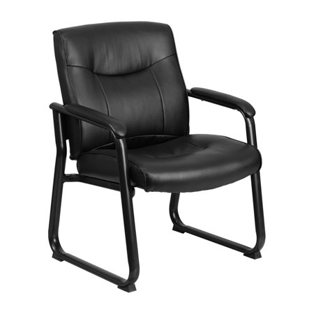 500 Base Unit - Offex HERCULES Series Big and Tall 500 lb. Capacity Black Leather Executive Side Chair with Sled Base [OF-GO-2136-GG]
