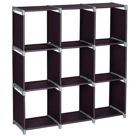 GHP Dark Brown 3 Tier 9 Compartments Open Storage Cabinet Organizer Cube Rack Shelves