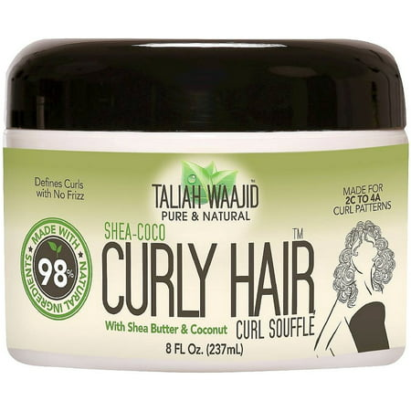 Taliah Waajid Pure & Natural Shea-Coco Curly Hair Curl Souffle, 8 fl oz (Smooth Snaffle)